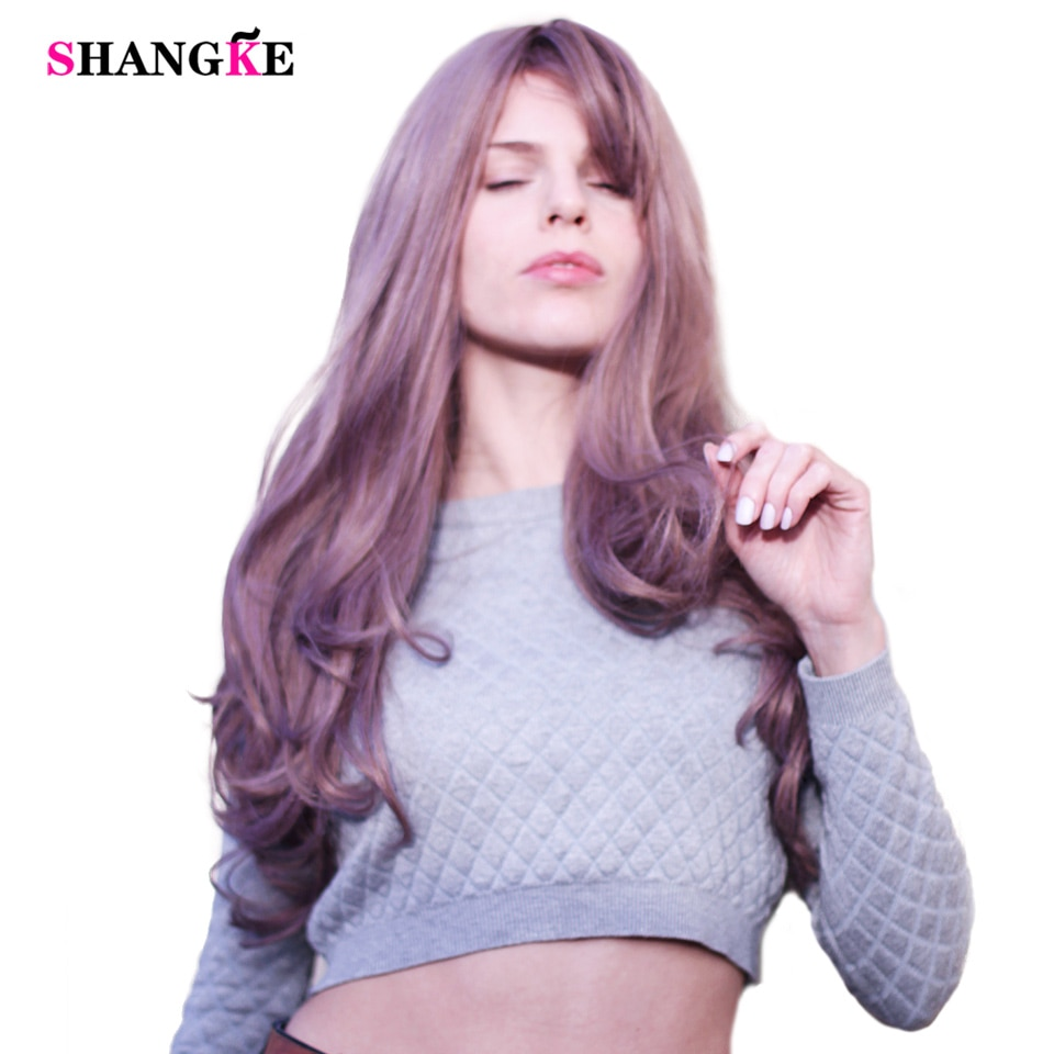 SHANGKE 26'' Long Wavy Blonde Wigs Blonde Heat Resistant Synthetic Female Wigs For White Women Fake Hair Pieces
