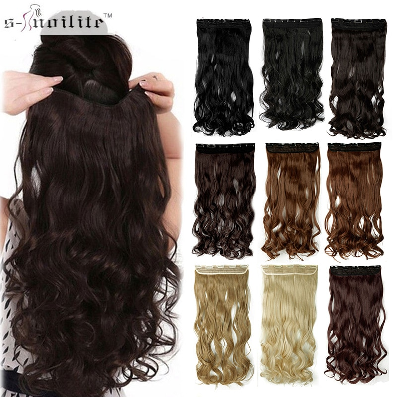 """SNOILITE 17/24/27/29"""" Long Curly Synthetic Clip in Hair Extensions Half Full Head Hairpiece 5 clips One Piece Black Brown Blonde"""