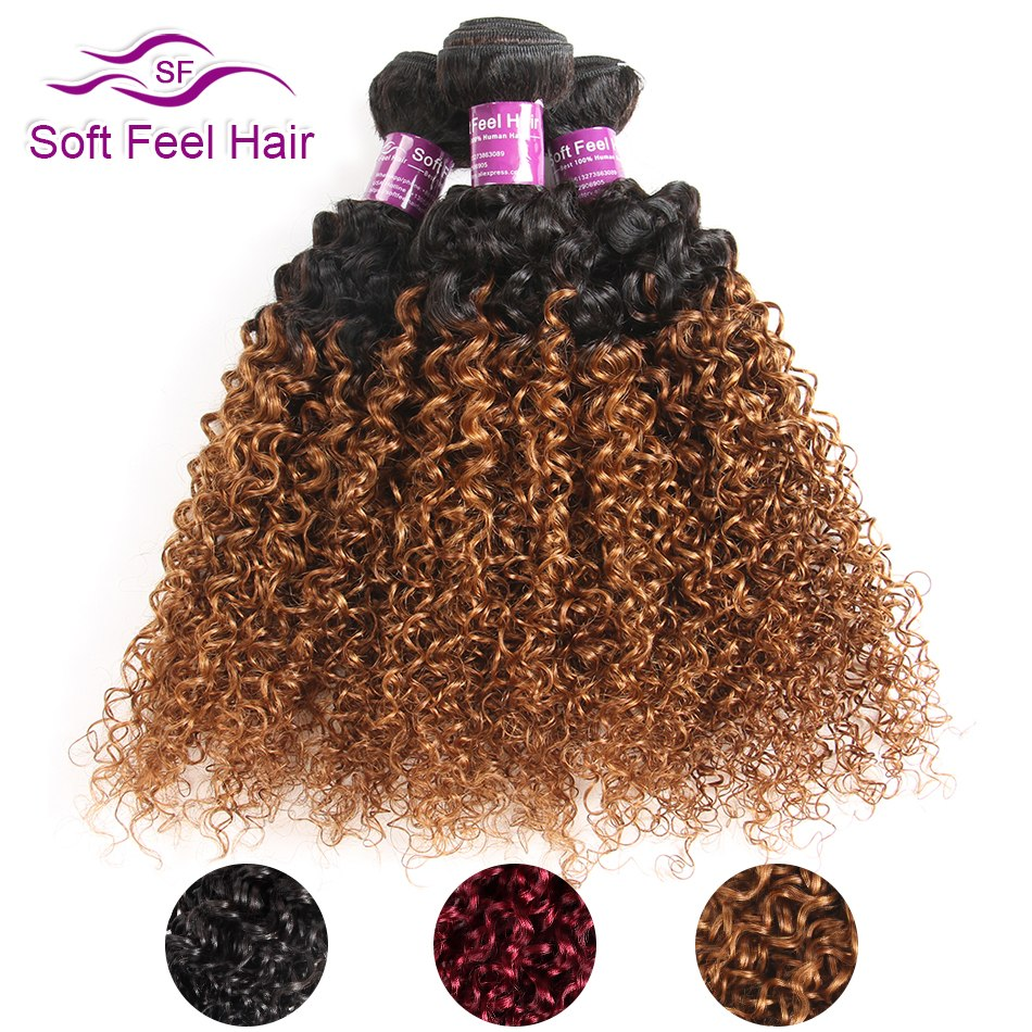 Soft Feel Hair 1/3/4Pcs Ombre Brazilian Kinky Curly Hair Bundles Weave Human Hair Extensions 1B/30 Brown Remy Ombre Hair Bundles