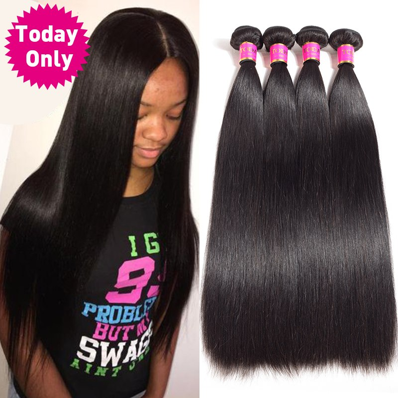 TODAY ONLY 1 / 3 / 4 Bundles Peruvian Straight Hair Bundles Unprocessed Virgin Human Hair Bundles Peruvian Hair Bundles