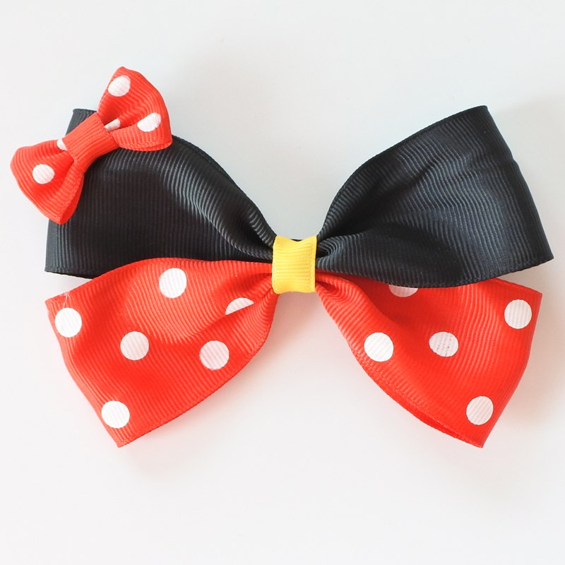 Two Layer Polka Dots Hair Bows For Girls Minnie Hair Clips Cartoon Women Barrettes Hair Accessories For Children/Adult