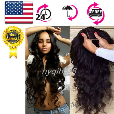 "US 22""130% Brazilian Wig Density Lace Front Pre Plucked +Baby Hair Body Wave"