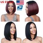 US Women Short Straight Bobo Full Wigs Brazilian Ladies Hair Cosplay Wigs +Cap