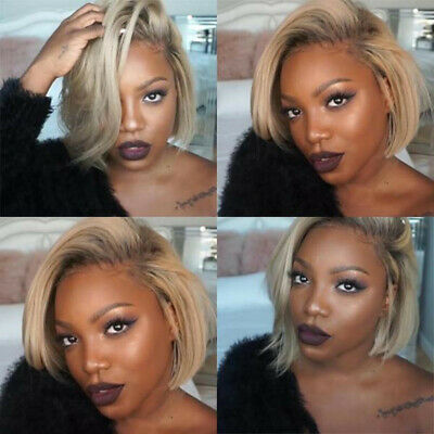 Wig with Baby Hair Human Hair Full End Short Bob Wigs For Black Women Gold US