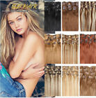 "Women 15''-26""' 7PCS Set Clip in Remy Extensions 100% Human Hair Full Head Hair"