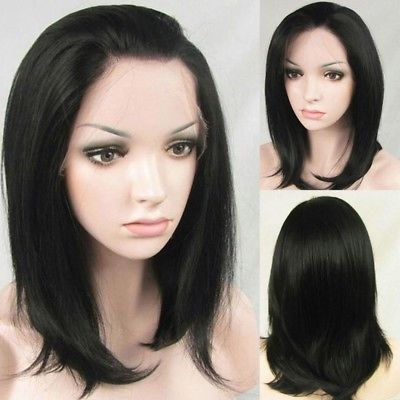 Women Fashion Wig Black Straight Medium Long Synthetic Hair Wigs Party Cosplay