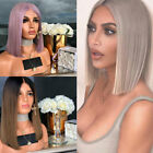 Women Short Ombre Blonde Gold Hair Brown Black Straight Synthetic Wigs + Wig Cap