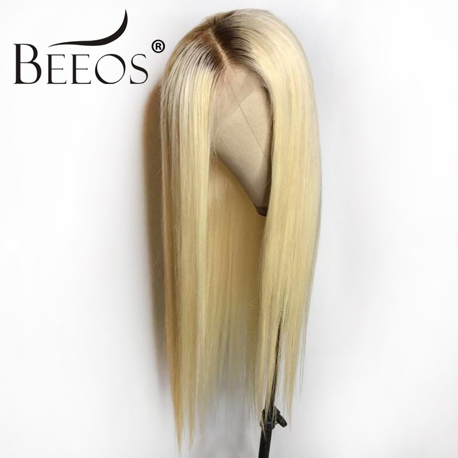 Beeos #4T#613 Glueless Full Lace Human Hair Wigs With Baby Hair Ombre Blonde Pre Plucked Remy Hair Peruvian Wigs For Women 130%