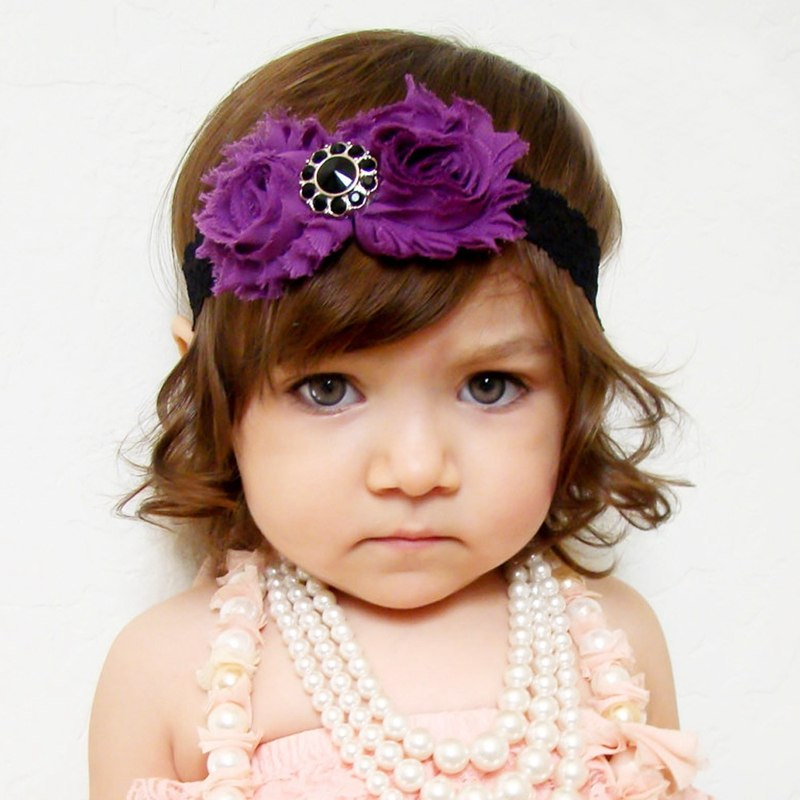 Double Purples Cloth Flowers Black Rhinestones Hair Bands for Headbands Newborns Headwear Hair Accessories