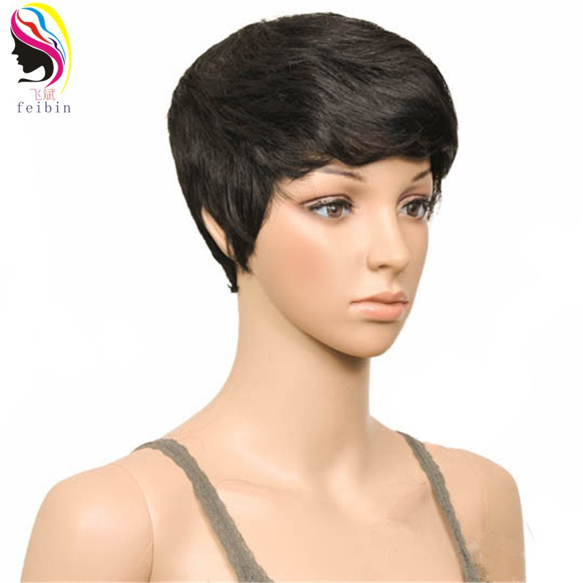 Feibin Short Wigs for Black Women Synthetic Wigs Blonde Black Brown Full Head Nature Curly Hair 4inches