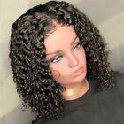 Natural Brazilian Remy Human Hair Wigs Wavy Curly Short Wig Water Wave BOB 1b zx