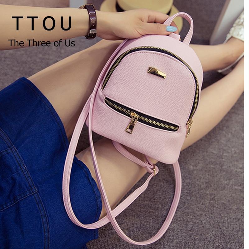 TTOU Women Mini Backpack Cute Backpack for Children Teenagers School Bags Mochila Preppy Style Pu Leather Backpack for Girls