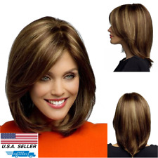 Women Bob Wig Lady Girl's Short Brown Blonde Natural Straight Cosplay Hair Wigs