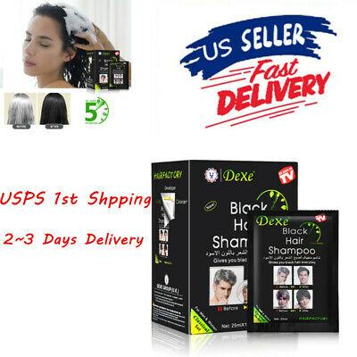 10bags Dexe Black Hair Shampoo Dye Hair Color Easy Use Just 5 Minutes 25 ml/bag