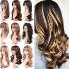 Amazing Highlight Long Hair Wigs Brown Blonde Wavy Curly Full Wig Cosplay Hair W