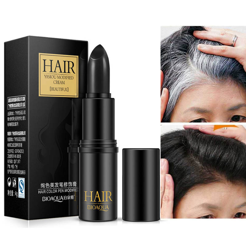 BIOAQUA Brand Black Brown Temporary Hair Dye Cream Mild Fast One-off Hair Color Pen Cover White Hair DIY Styling Makeup Stick