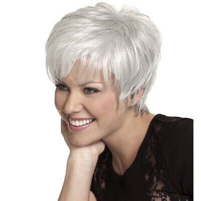 Fashion Short Silver White Synthetic Wigs For Women Short Pixie Hair Wavy Wigs
