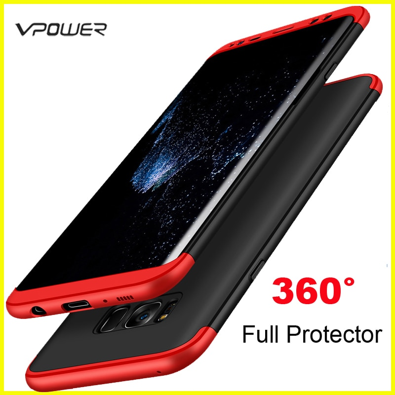 for Samsung Galaxy S8 Plus S10 S9 Plus Case Samsung S8 S10 Lite Cover Vpower 3 in 1 360 Full Protector Case Covers Without Glass