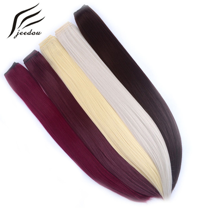 """jeedou Straight Hair Clip in One Piece Hair Extensions 5Clips Synthetic 24"""" 60cm 120g Black Brown Color Women's Hairpieces"""