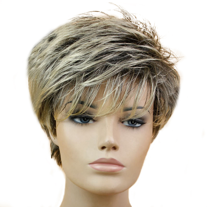 MISS WIG Black Mixed Blonde Straight Wig Short Pixie HairCut Style Wigs For White Women Synthetic Hair High Temperature Fiber