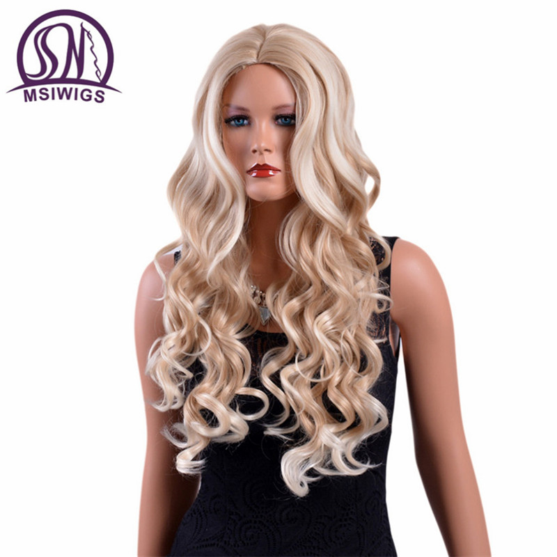 MSIWIGS 26 Inches Long Wavy Blonde Wigs High Temperature Fiber American Natural Ombre Synthetic Wig for White Women Free Hairnet