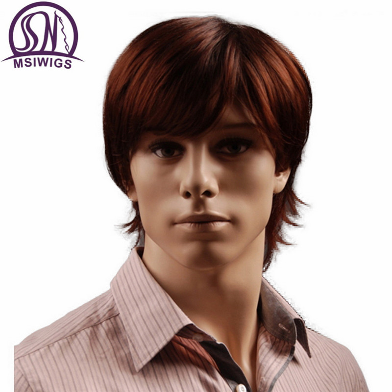 MSIWIGS 8 Inch Short Hair Synthetic Wigs for Men Natural Full Reddish Brown Straight Male Wig with Bangs Heat Resistant