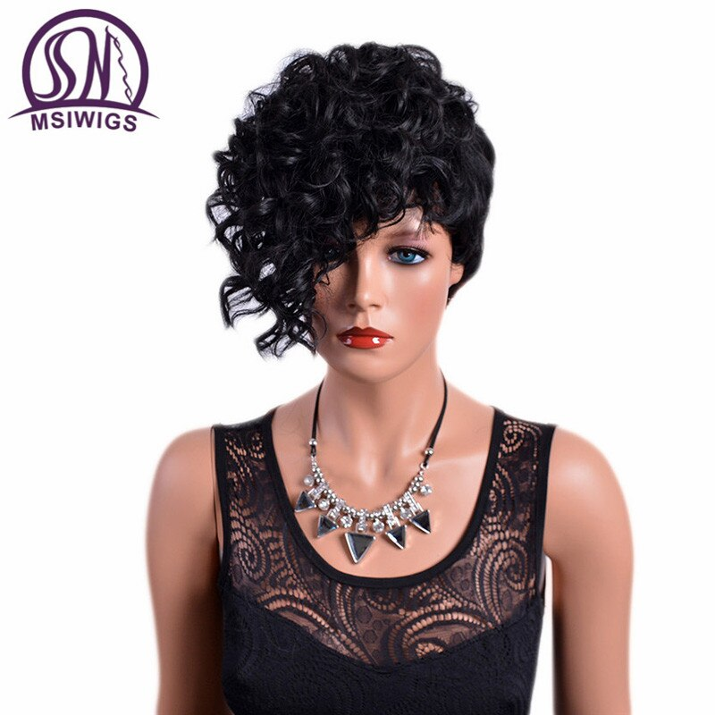 MSIWIGS Front Curly Back Straight Short Wigs with Bangs Natural Black Synthetic Hair Afro Wig for Women High Temperature Fiber
