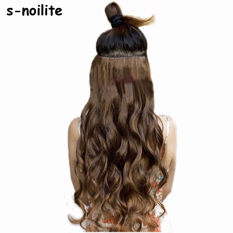 "S-noilite 18-28"" Curly 3/4 Full Head Clip in Hair Extensions Black Brown Real Natural Synthetic One Piece"
