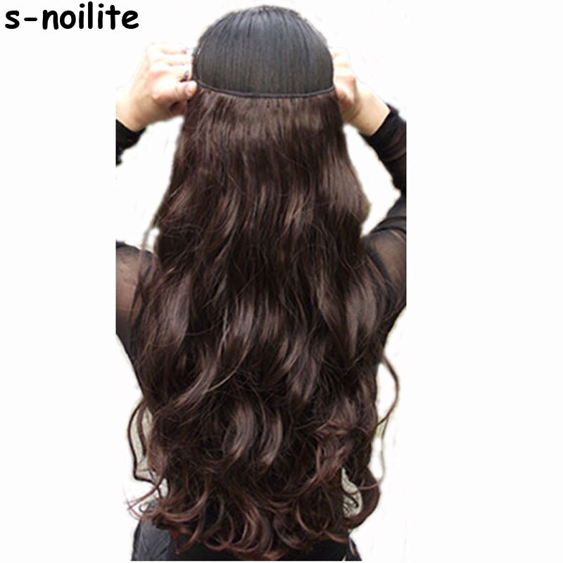 "s-noilite 18-28"" Long Clip in ins hair Extensions synthetic 100% real natural hair Extentions 3/4 full head 1 Piece Black Brown"