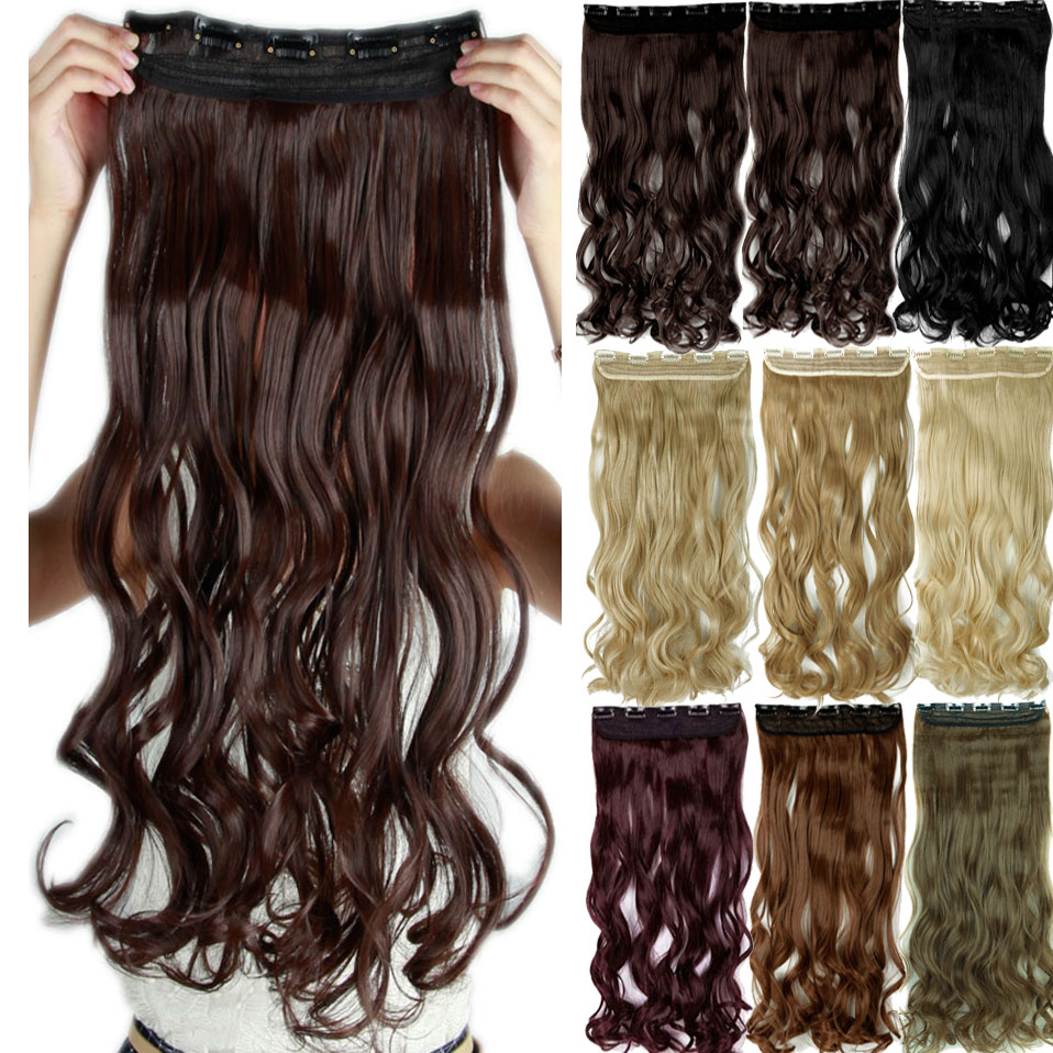 "SNOILITE 17/24/27/29"" Long Curly Synthetic Clip in Hair Extensions Half Full Head Hairpiece 5 clips One Piece Black Brown"