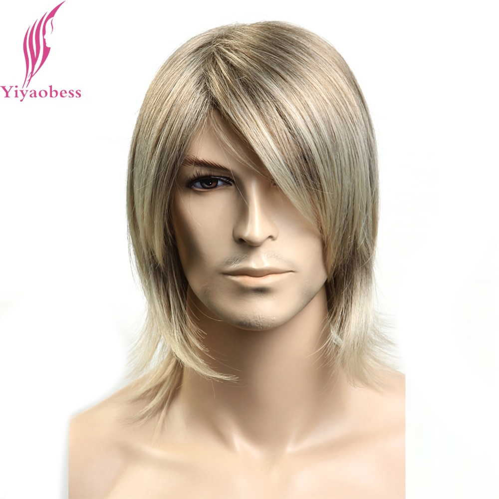 Yiyaobess 12inch Synthetic Japanese Fiber Straight Mens Hair Wig Highlights Blonde Medium Length Wigs For Men Free Shipping