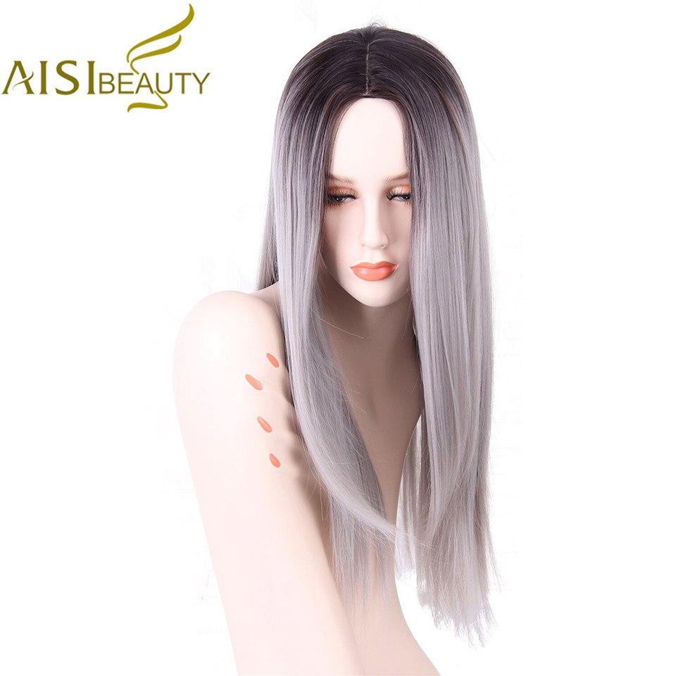 """AISI BEAUTY Long Straight Grey Red Pink Ombre Black Synthetic Wigs for Women Cosplay Hair Heat Resistant 26"""""""