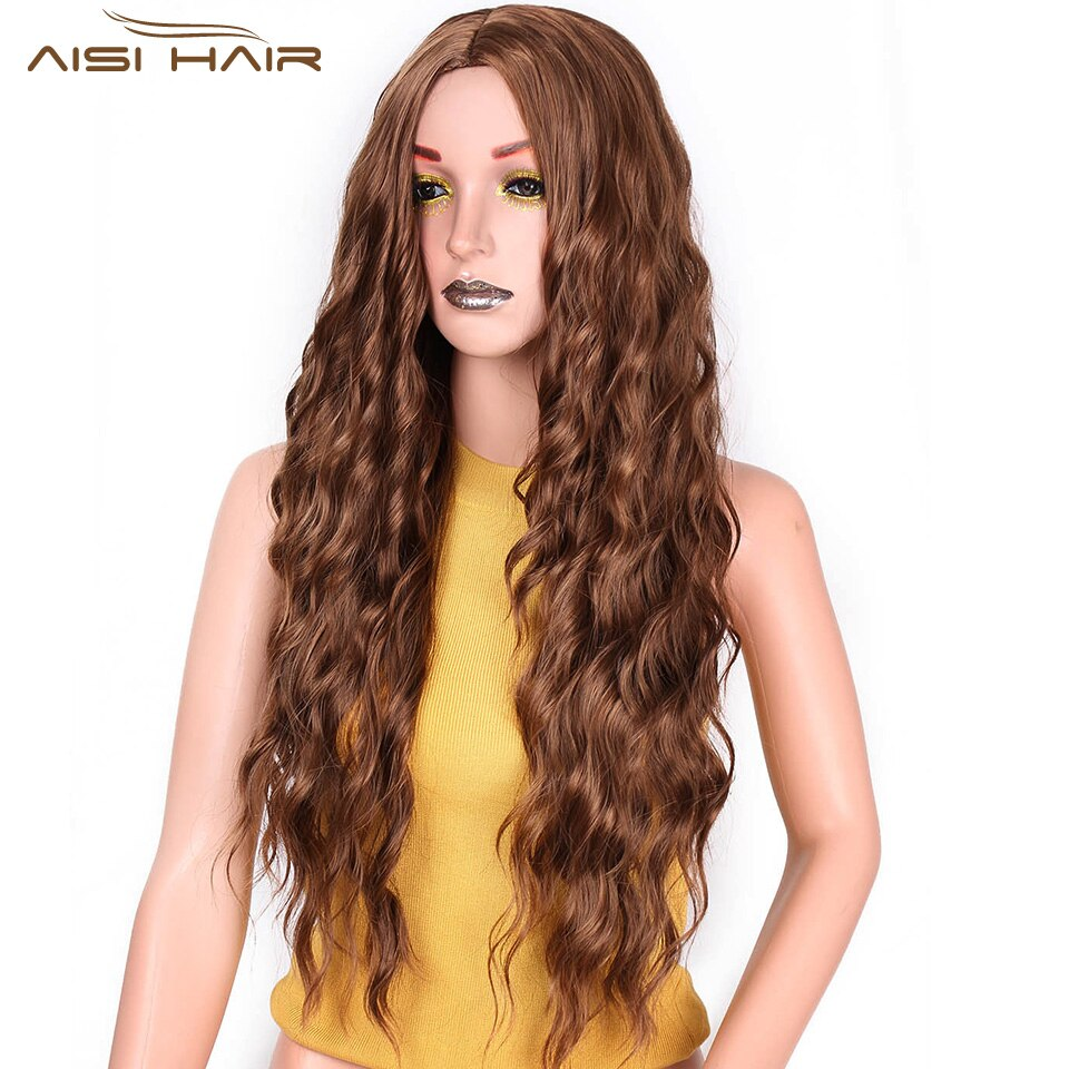 I's a wig Synthetic Brown Blonde Red Black Heat Resistant Hair Water Wave Wigs for Women Black hair