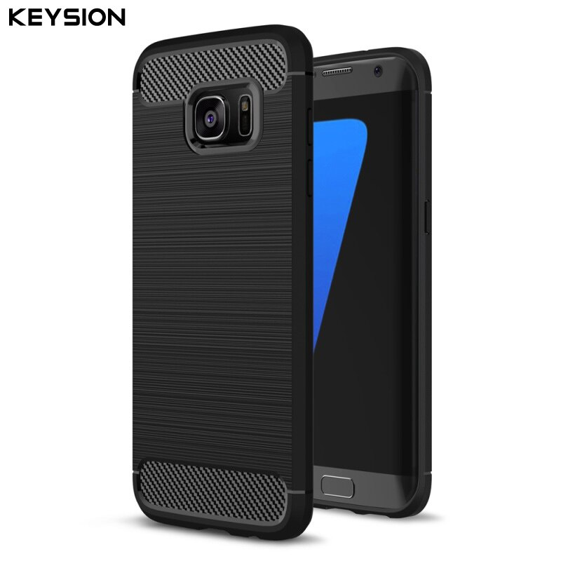 KEYSION Cover for Galaxy S7 S7 edge Phone Cases Shell Carbon Fibre Brushed TPU Case for Samsung Galaxy S7 S7Edge Phone Bag
