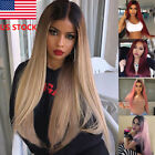 Sexy Women Wig Ombre Long Wine red Pink Linen Straight Black Synthetic Hair Wigs