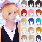 US Stock Full Wigs Short Layer Black Blonde Brown Hair Wig for Men Women Male @G