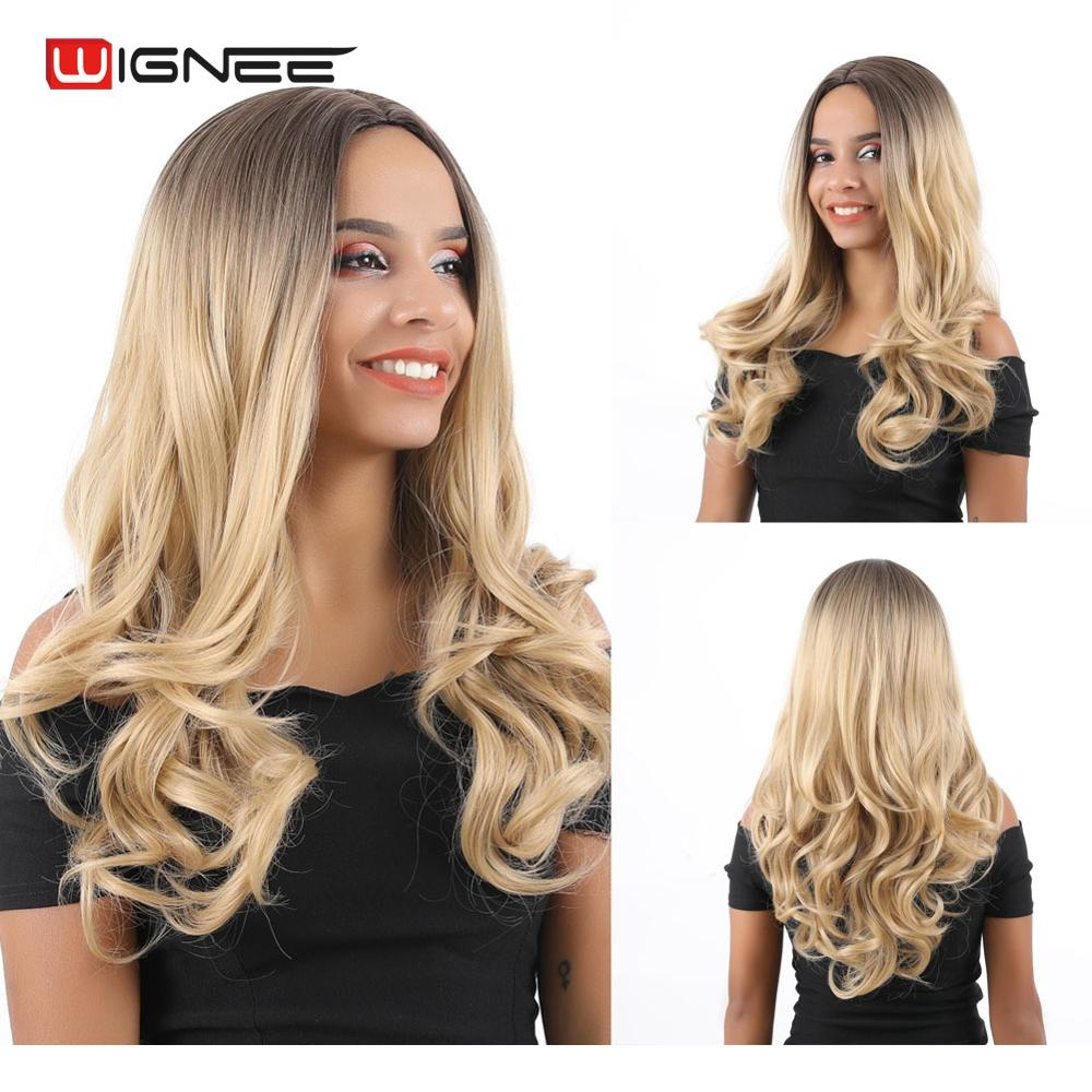 Wignee Middle Part Ombre Blonde Long Wavy Hair Synthetic Wigs For Black/White Women High Density Heat Resistant Daily/Party Wigs