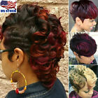 Womens Ombre Black Wine Red Blonde Wigs Short Wavy Curly Synthetic Hair Wigs US