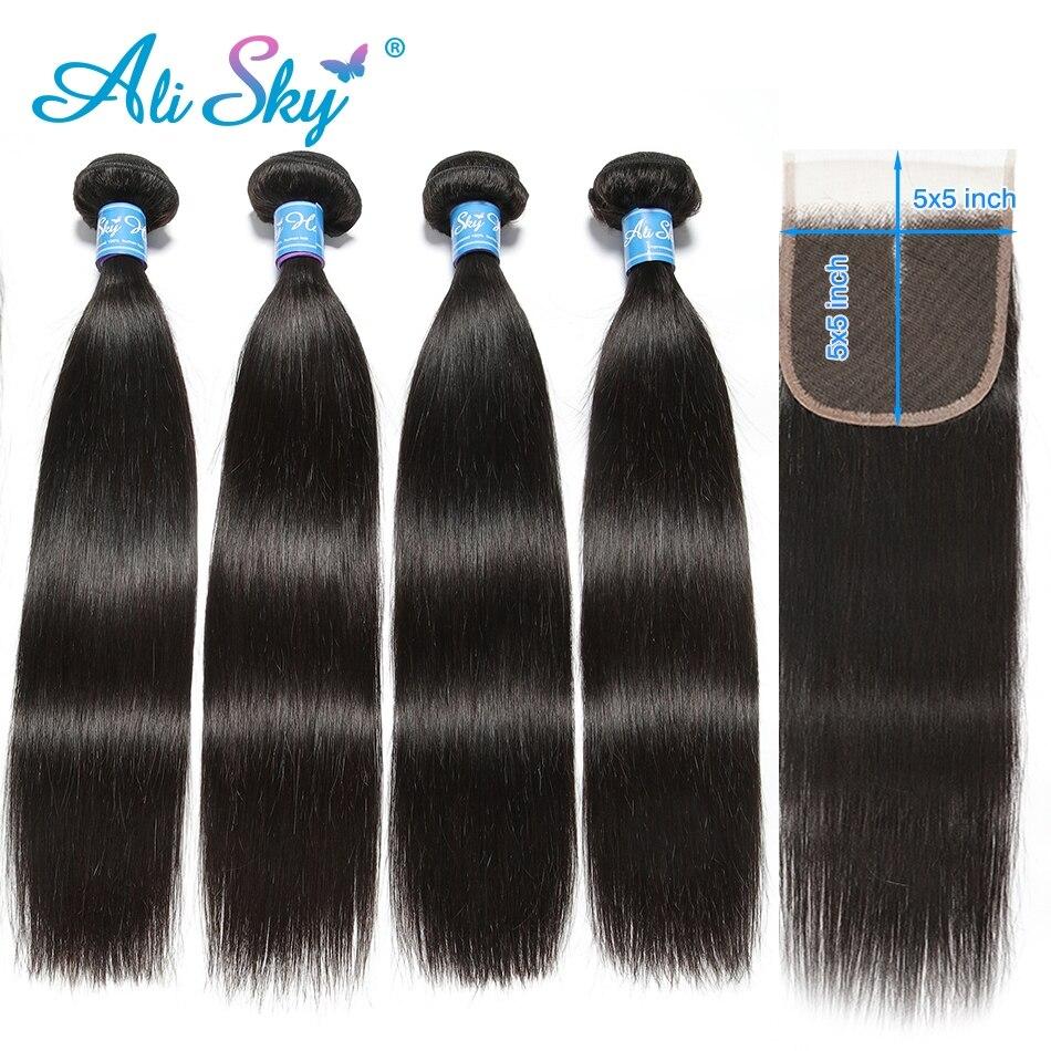 Alisky Hair Brazilian Straight Hair 4 Bundles With 5X5 Closure Human Hair Bundles With Closure Remy Hair Extension Natural Color
