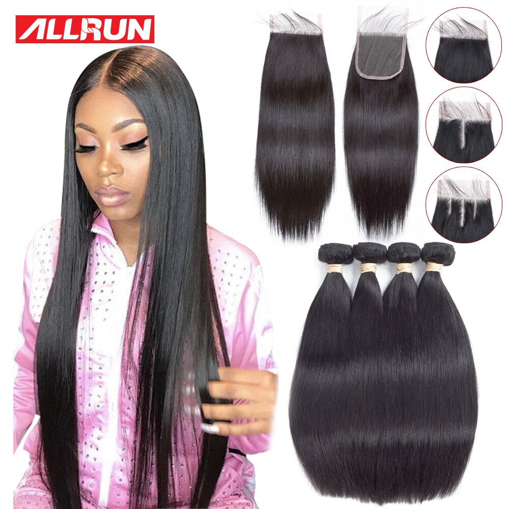 Allrun Straight Hair Bundles with Closure Brazilian Hair Weave Bundles Human Hair Bundles with Closure Non Remy Hair Extensions
