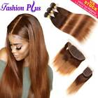 Brazilian Hair Bundles With Closure Frontal Ombre Straight Hair Weave Extensions