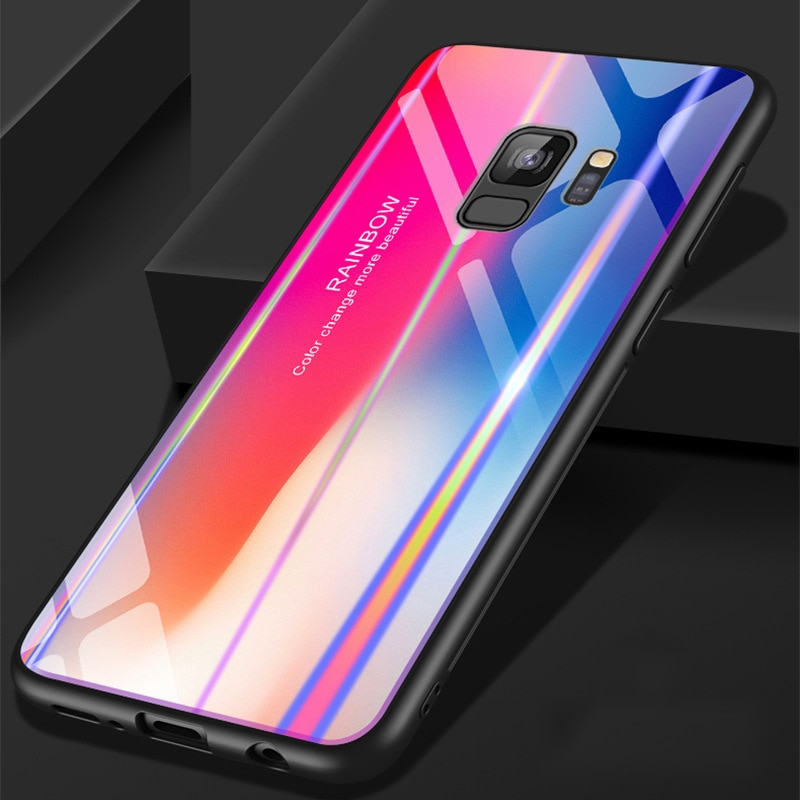 for Samsung S9 Case S9 Plus Discolor 9H Tempered Glass Aurora Gradient Color Shockproof Case for Samsung Galaxy Note 9 Case