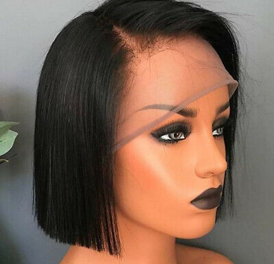 Indian Real Hair Wig Short Bob Straight Wig Lace Front Human Hair Wigs Black US