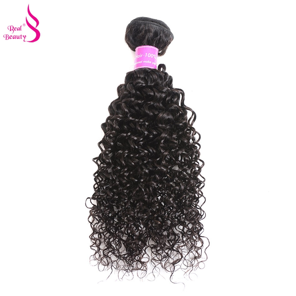 Real Beauty Curly Weave Human Hair Brazilian Hair Bundles Natural Black Remy Hair Extensions Can Mix Bundles Length 8-26inches