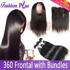 Straight Brazilian Hair Bundles Human Hair With Closure Frontal 360 Degree Lace