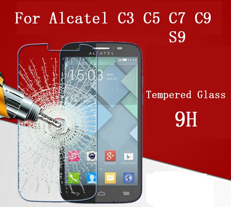Tempered Glass Film screen protector 9H Case for Alcatel One Touch Pop C3 C5 C7 C9 S7 D3 D5 Glass Arc Edge 2.5D 0.3mm