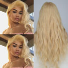 100% Real Brazilian Human Hair Straight Wavy Full Wig Black Blonde Lace Front si