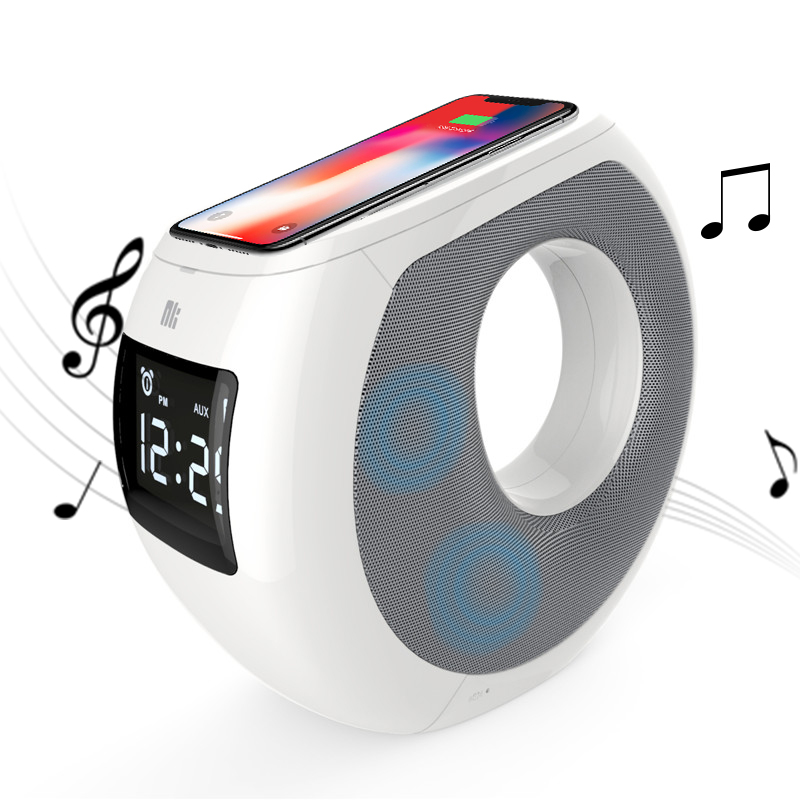 Bluetooth speaker qi wireless charger home Music surround led Alarm clock NILLKIN Cozy MC1 for iPhone X for Samsung for xiaomi 9