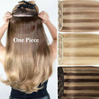 Invisible One Piece Clip In 100% Real Remy Human Hair Extensions 3/4Full Head US
