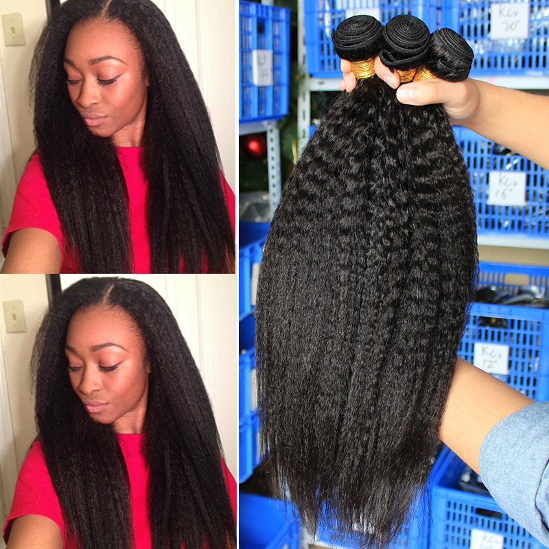 Kinky Straight Hair Brazilian Virgin Hair Weave Bundles Coarse Yaki 100% Human Hair Bundles 3 Dolago Hair Products Extensions